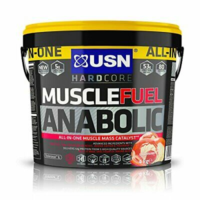 £58.99 • Buy USN Muscle Fuel Anabolic, Strawberry 4KG, All In One Muscle Gain Protein Formula