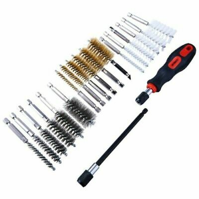 20 Pc Wire Brush Cleaning Set Remove Rust Metal Clean Handle Drill Bit New • 10£