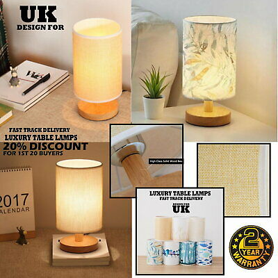 £11.99 • Buy Bedroom LED Bedside Lamp Warm White Night Light Bulb Dimmable Wood Table Lamp UK