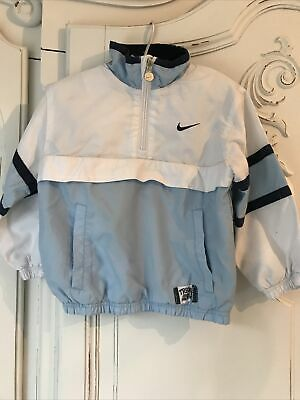 NIKE CHILDS SPORT TOP BLUE WHITE HALF ZIP 98/104 Cm TRACK ATHLETIC • 8£