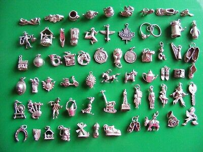 £6.99 • Buy E Vintage Sterling Silver Charms Charm Skier Iron Horse Key Swan Harp Clown Horn