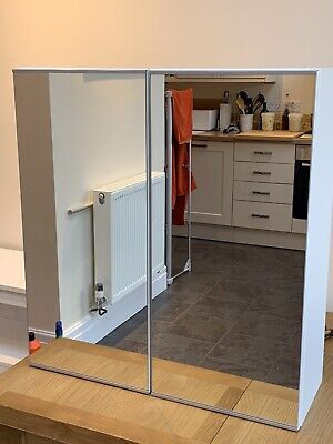 Mirrored White Bathroom Wall Cabinet • 25£