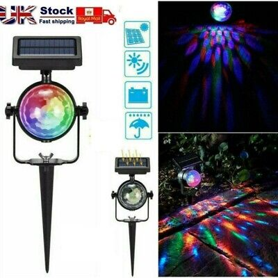 Solar Spot Lights LED Colour Changing Projection Stake Garden Light Outdoor New • 9.98£