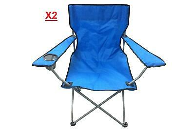 £22.83 • Buy 2x Heavy Duty Luxury Camping Chair Folding Padded Directors Chairs W/ Cup Holder