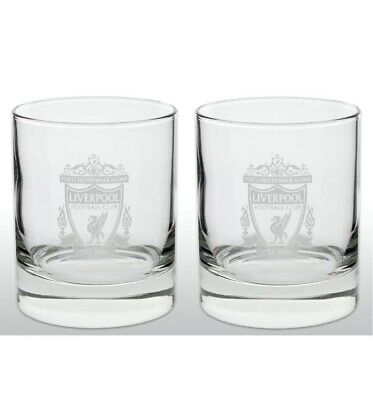 Liverpool FC Official Football Gift Whiskey/ Vodka/ Tumbler Glass X 2 • 14.95£