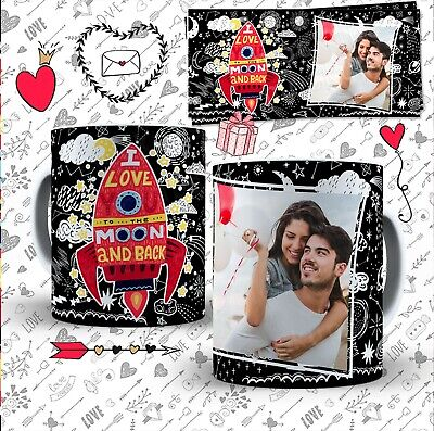 Custom Personalized Valentine's Day Mug With Photo I Love To The Moon And Back • 9.99£