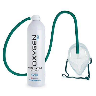 O2 15L Breathing Oxygen Can - Mask And Tube • 19.99£