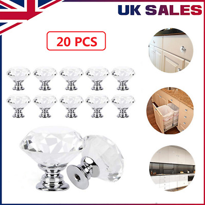 20 Crystal Glass Door Knobs Diamond Drawer Cabinet Furniture Handle Knob Kitchen • 10.99£