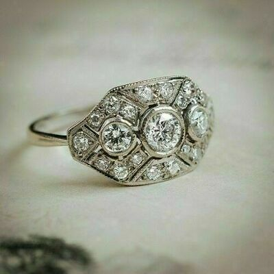 Vintage Art Deco 2 CT Round Cut 14k White Gold Over Diamond Wedding Women Ring • 76.99£