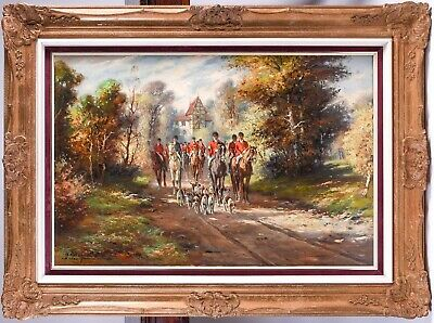 £2000 • Buy Large British Hunting Scene Signed Oil Painting - Riders On Horse Back & Hounds