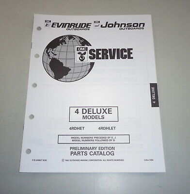 AU31.05 • Buy Parts Catalog Omc Johnson Evinrude Outboard Motor 4 Deluxe Models Stand 08/1992