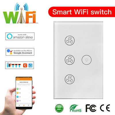 AU33.59 • Buy Smart WiFi Ceiling Fan Light Controller Wall Touch Switch For Alexa/Google Home