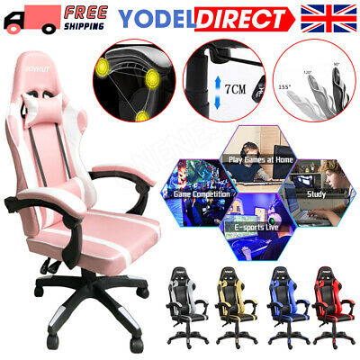 £59.99 • Buy Racing Gaming Computer Chair PU Recliner Office Swivel Lift Adult Executive Seat