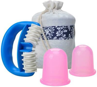 Anti Cellulite Silicone Cup And Massager Roller Set, Body Massager For Skin • 11.14£