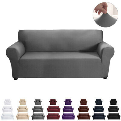 Sofa Settee Covers Couch Slipcovers Stretch Elastic Fabric Washable 1/2/3 Seater • 15.89£