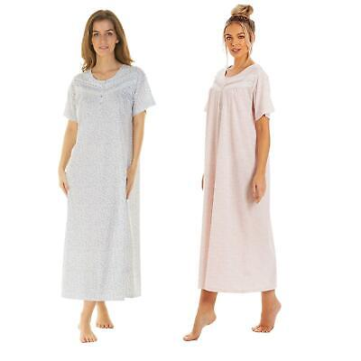 Women's Ladies Short Sleeve Nightdress Jersey Cotton Long Length By La Marquise  • 12.99£