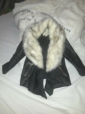Baby Girl 3-6 Months River Island Leather Jacket White Fur Trim  • 9£