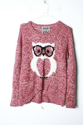 Tammy Girls Owl Print Knitted Jumper - Red - Age 12 13 Years (L-JJ8) • 3.99£