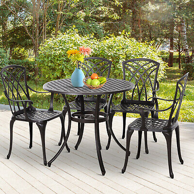 £339.99 • Buy 5 Piece Coffee Table Chairs Outdoor Garden Furniture Set W/ Φ50mm Umbrella Hole