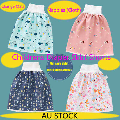 AU13.19 • Buy 2in1 Childrens Diaper Skirt Shorts Nappies Cloth Toddler Absorbent Change Mat AU