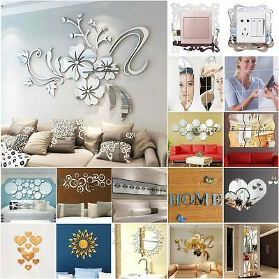 Acrylic 3D Mirror Effect Tile Wall Stickers Room Stick On Decal Home Ornament • 3.59£