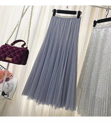 NEW WOMENS LADIES Ruffle Mesh Tutu GYPSY LONG  Net JERSEY MAXI SKIRT SIZE 8-26 • 9.98£