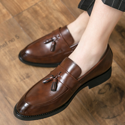 Details about  /Nightclub Mens Leisure Leather Shoes Slip on Pointy Toe Business Work Tassels Sz