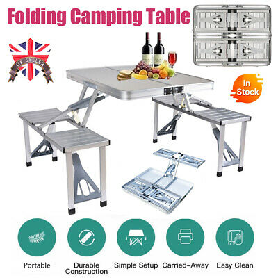 Portable Folding Picnic Table Chair Set Camping BBQ Aluminium Frame W/ Suitcase • 35.99£