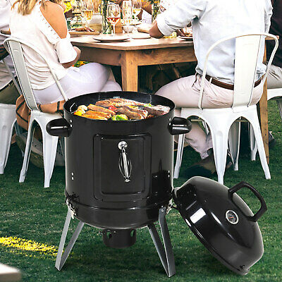 £42.99 • Buy Charcoal Smoker Grill Metal Outdoor Camping BBQ Smoking W/ Thermometer, Black