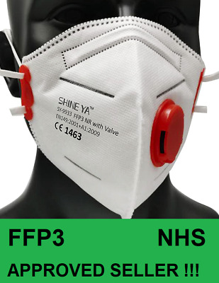 £22.95 • Buy X5 FFP3 Face Mask Dust Mask Particulate Valved P3 N99 Disposable Respirator New