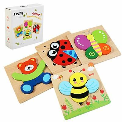£18.50 • Buy Felly Wooden Toys - 4 Pack Jigsaw Puzzles For Toddlers 1 2 3 Years Old, Boys &