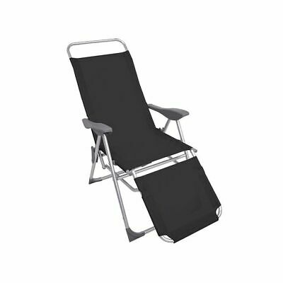£39.95 • Buy Sun Lounger Recliner Chair 2 In 1 Garden Foldable Steel Black Outdoor Camping
