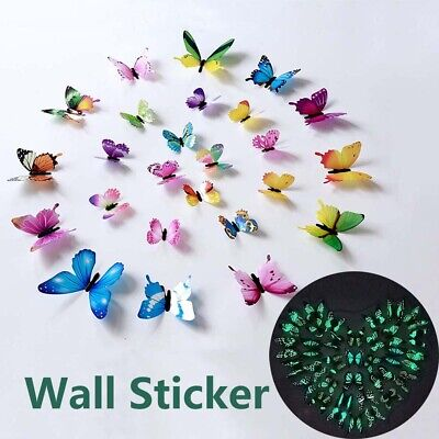 AU2.45 • Buy 12Pcs/set Luminous Butterfly Wall Stickers For Decorations Home 3D Stickers