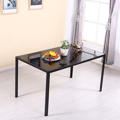 6 Seater Glass Dining Table Rectangle Black Chrome Legs Home Kitchen Tables NEW • 75£