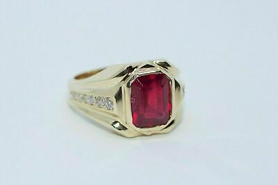 $93.99 • Buy Men's 14k Yellow Gold Over 1.59CT Emerald Cut Ruby & Diamond Exclusive Ring