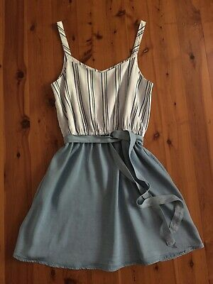 AU28 • Buy Forever New Size 10 Pale Blue Denim & Stripe Dress With Straps New Without Tags
