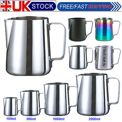 £7.69 • Buy Stainless Steel Milk Pour Pot Frothing Jug Frother Coffee Cup Metal Drink Mug UK