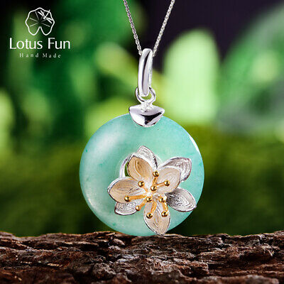 $ CDN33.74 • Buy Exquisite Lotus Flowers Natural Jade Stone Pendant 925 Silver Jewelry For Women