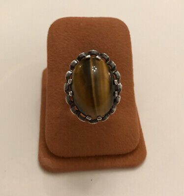 £22.50 • Buy Vintage Fully Hallmarked Silver Cabochon Tigers Eye Ring In Cage Setting