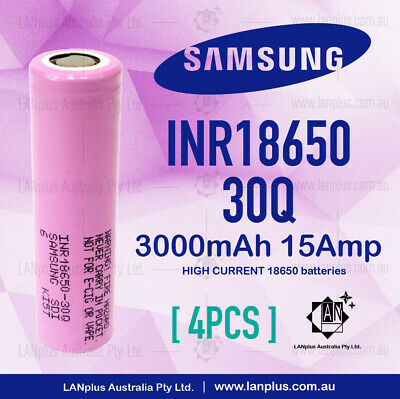 AU39.35 • Buy 4x Genuine Samsung 30Q 3000mAh 15Amp HIGH Drain 30Q Rechargeable Batter > 25R