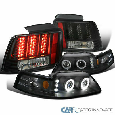 $241.21 • Buy For Ford 99-04 Mustang Black Projector Headlights+LED Sequential Tail Brake Lamp