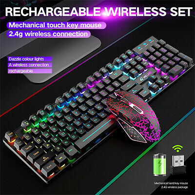 AU71.01 • Buy Wireless Gaming Keyboard And Mouse Combination Rainbow RGB Backlit LED Mechanica