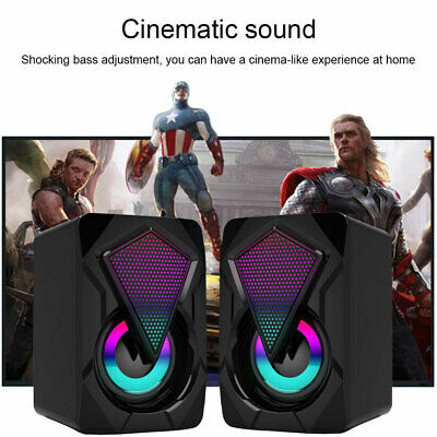 £9.99 • Buy Surround Sound System LED PC Speakers Gaming Bass USB Wired For Desktop Computer