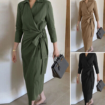 2021 Womens Long Sleeve Belted Wrap Solid Shirt Dress Office Work Ladies Dresses • 10.11£