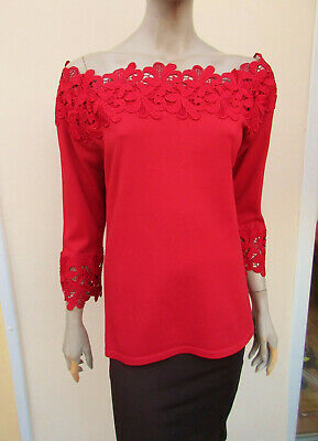 Next - Womens Red Fine Knit Off The Shoulder Jumper / Top - Size 20 • 13.45£