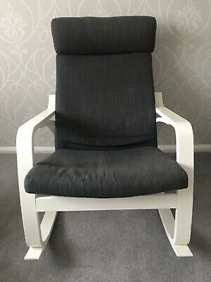 Ikea White Frame Poang Rocking Chair With Grey Or White Cover RRP£215 • 87.50£