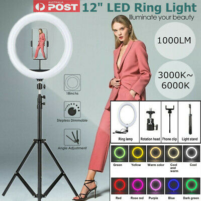 AU9.99 • Buy 12  RGB LED Ring Light Dimmable Kit & Selfie Tripod Stand Makeup Youtube Live AU