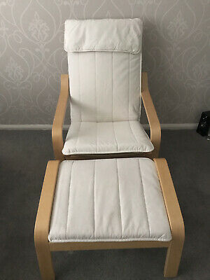 IKEA Poang Beech Chair & Footstool Cream Covers • 77.50£