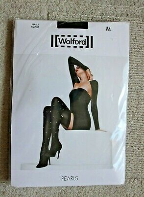 Wolford Pearls Hold Up Stockings Black With Hand Applied White Pearls. M BNIP • 45£