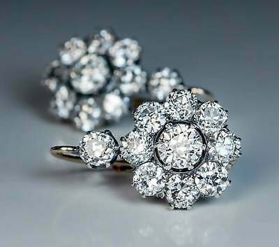 £100.99 • Buy 2Ct Round-Cut Diamond Antique Cluster Drop/Dangle Earrings 14k White Gold Over